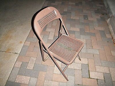 Vintage Folding Metal Chair cane webbing look