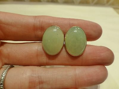 Vintage signed 14k yellow gold oval pale green A jade jadeite cabochon cufflinks