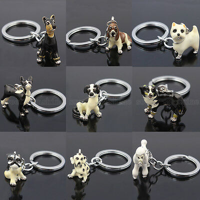 Charm Crystal Keyrings Cute Dog Pendant Purse Bag Key Ring Chain Keychain Gifts