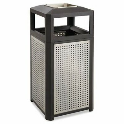 Safco Ashtray-Top Evos Series Steel Waste Container, 15gal, Black (SAF9933BL)