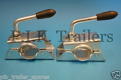 2 x 34mm Jockey Wheel Clamps Pressed Steel for Trailers & Caravans