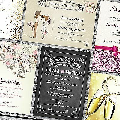 Personalised Wedding Invitations / Invites, Day or Evening  with FREE Envelopes