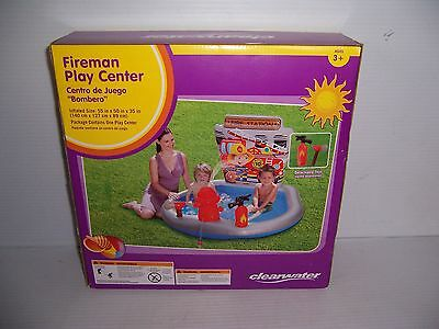 Clearwater Fireman Play Center Child's Water Spraying Inflatable Pool New!