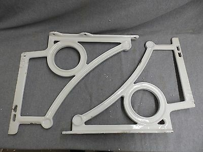 Pair Antique Cast Iron White Porcelain Sink Brackets Supports Old Vtg 4978-15