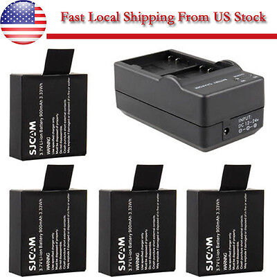 3.7V 900mAh Spare Battery or Dual Charger For SJCAM SJ4000 SJ5000 Sports Camera