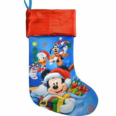 """Disney Mickey Donald Goofy 18"""" Jersey Merry Christmas Stocking with Sequins Cuff"""