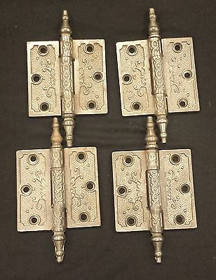 "4 Victorian Style cast iron decorative hinges door cabinet cupboard 3"" X 3"""