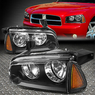 For 2006-2010 Dodge Charger Pair Black Houisng Headlight+Amber Turn Signal Lamp