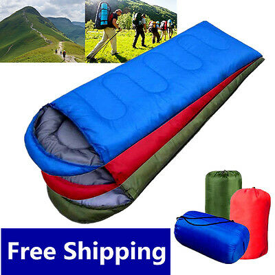 3 Season Single Adult Waterproof Camping Hiking Case Envelope Sleeping Bag UK HT