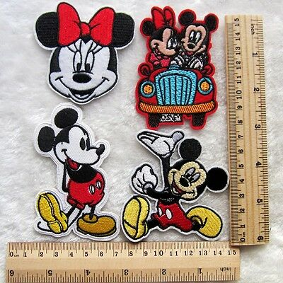 Gift 4pcs Mickey & Minnie Mouse A Embroidered Iron/Sew On Patch Motif Appliqué