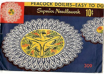 1940s Vtg Superior Crochet Pattern Embroidery Transfer PEACOCK DOILIES 309 UNCUT
