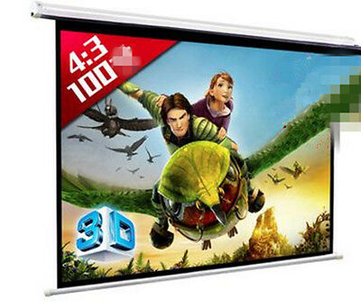 """Electric Projector Screen Wall Celling Mounted 100"""" 4:3"""