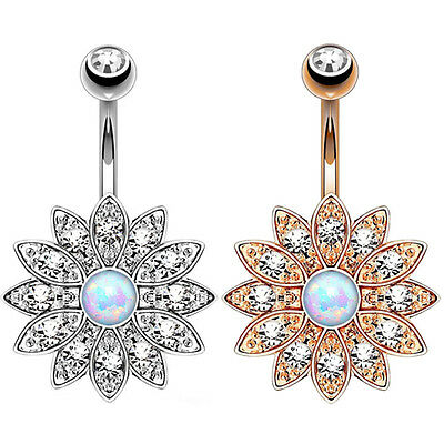 2 Flower Golden Navel Ring Dangle Rhinestone Belly Button Rings Piercing Jewelry