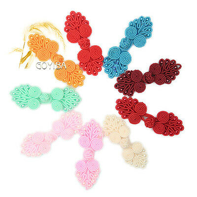 5 Pair Handmade Solid Beaded Chinese Dress Frogs Closures Knot Buttons Fasteners