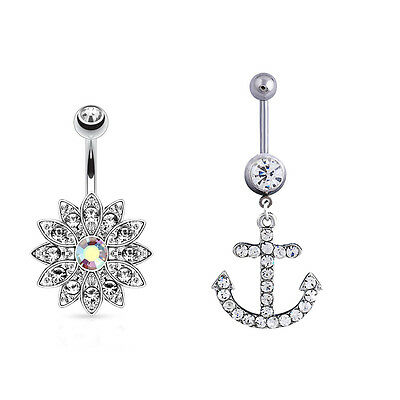 Clear Crystal Dangle Navel Belly Ring Barbell Piercing Jewelry Flower Anchor
