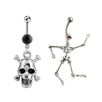 Alien ET + Skull Belly Button Ring Navel Rhinestone Piercing Jewelry Glitter
