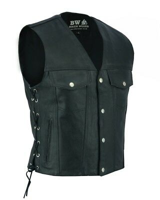 Mens Leather Waistcoat Vest Buttons Side Laced For Bikers/Fashion Biker wears nt