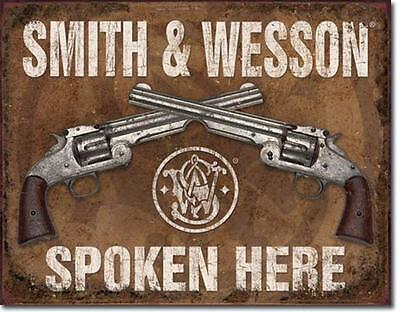 Smith & Wesson Spoken Here Crossed Revolvers Pistols Guns Tin Metal Sign