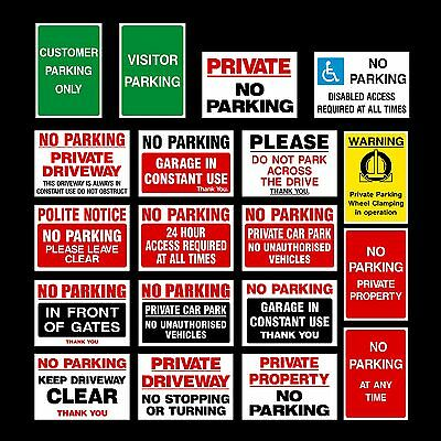 No Parking Plastic Sign, Sticker, Metal - Clamping, Private, Driveway, Disabled