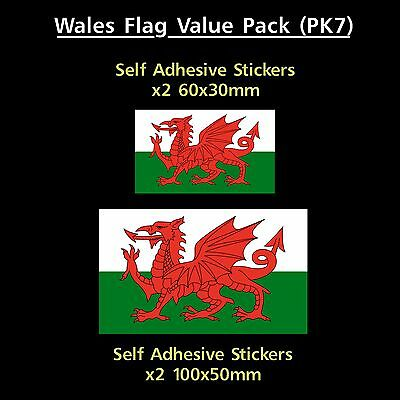 Wales / Welsh Flag Sticker Decals - Value Pack! - GB, Van, Car, Truck