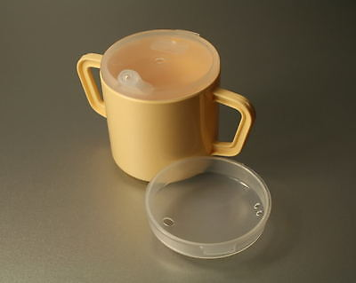 2 Handle Drinking Cup Beaker Mug with 2 lids in Yellow 2 Handed
