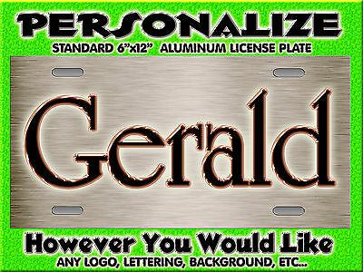 Brushed Chrome look Glod Background PERSONALIZED FREE Monogrammed License Plate