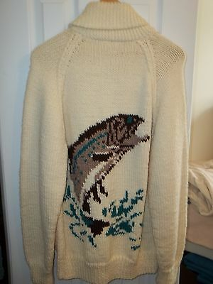 Vintage Fly Fishermen Trout size L knitted thick chunky cardigan sweater