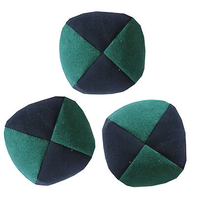 Green/ Black Set of 3 Moleskin Juggling Balls - Faux Suede Quality Pro Thud Ball