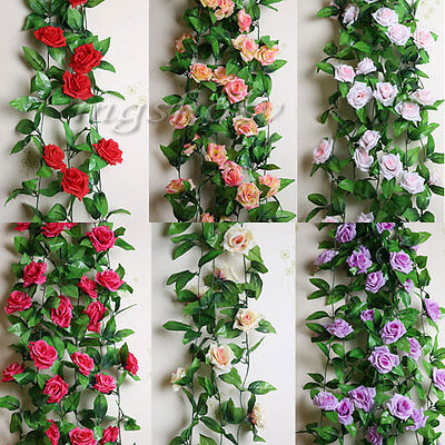 8Ft Artificial Rose Garland Silk Flower Vine Ivy Home Wedding Garden Decoration