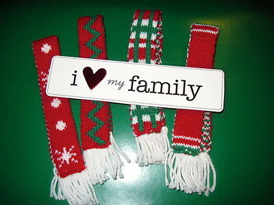 Holiday Scarf Set of 4 Scarves fits Elf on the Shelf Doll + I LOVE Family Sign