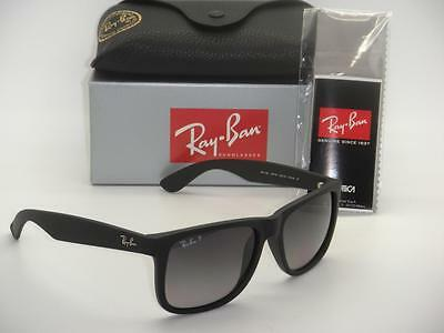 Ray-Ban Justin Rb 4165 622/t3 55Mm Rubber Black / Grey Gradient Polarized
