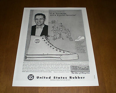 U. S. Pro Keds Shoes Of Champions B&w Ad Print - Mr. Basketball George Mikan