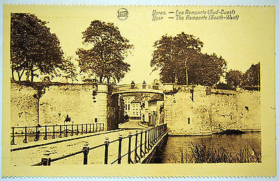 Postcard c. 1920's The South West Ramparts prior to destruction, Ypres - Belgium