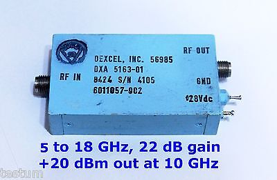 5-18 GHz  22 dB gain microwave amplifier. +20  dBm out. Tested and guaranteed.