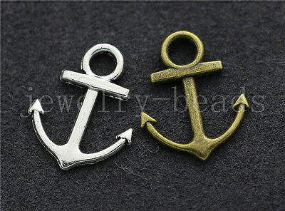10/40/200pcs Antique Silver Beautiful Anchor Jewelry Charms Pendant DIY 19x15mm