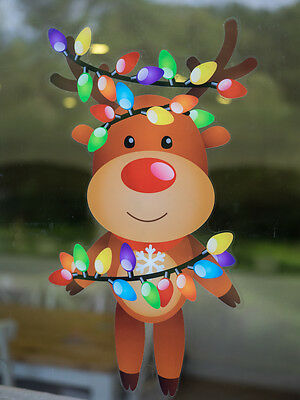 Happy Christmas Reindeer Double Sided Christmas Window Cling