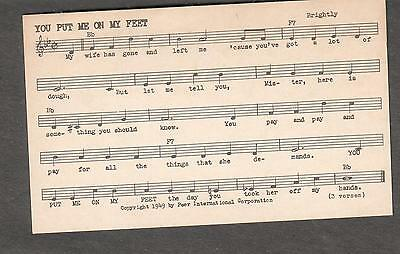 Tune-Dex performing rights info card-You Put Me On My Feet- Red Rowe Noel Boggs