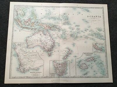 Large Map Of Oceania. Genuine Antique By Keith Johnston 1898