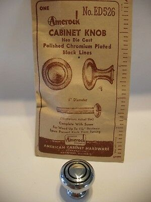 "Vintage NOS 1"" CHROME CABINET KNOBS Black Lines Circles Drawer Pulls Amerock"