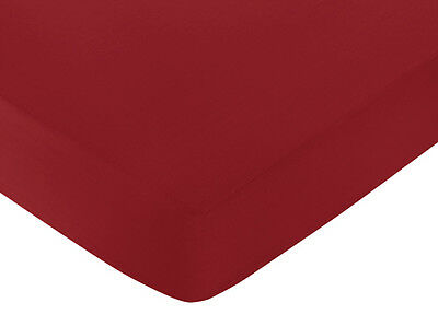 Sweet Jojo Designs White And Red Hotel Crib Or Toddler Fitted Sheet - Red Cotton