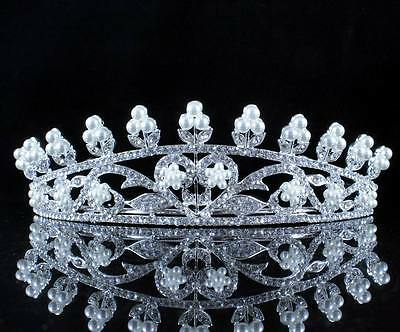 Heart Pearl Austrian Crystal Rhinestone Tiara Crown Prom Headband Wedding T11998