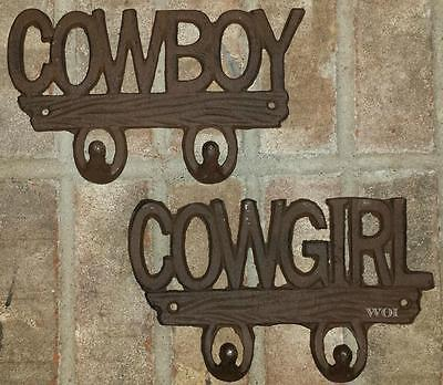 His & Hers Cast Iron Cowboy Cowgirl Towel Holder Hook Western Metal Hangers Sign