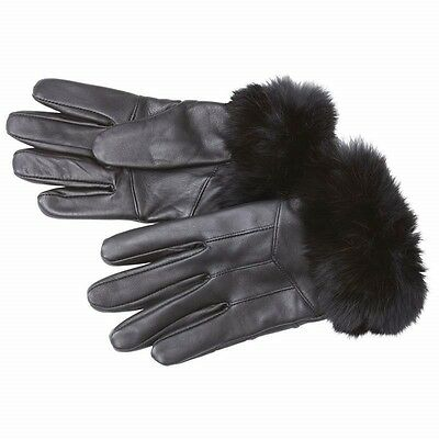 New Womens Black GLOVES Genuine Lambskin Leather Rabbit Fur Fleece Lined Winter