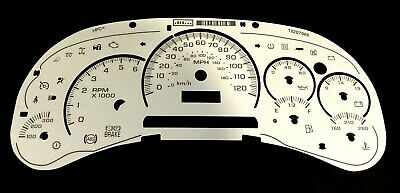 GM Truck & SUV White Instrument Cluster Gauge Face Applique Overlay Clear Scales