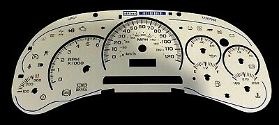 GM Truck & SUV White Instrument Cluster Gauge Face Applique Overlay Blue Scales