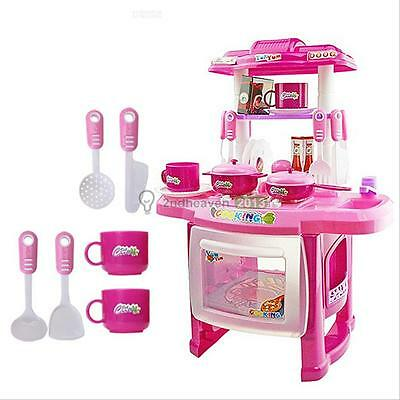 Pink Deluxe Children Kids Kitchen Cooking Pretend Play Toy Set With Accessories
