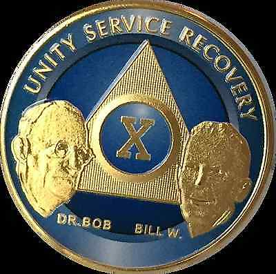 AA Founders 10 Year Chip Gold Plated Blue Alcoholics Anonymous Medallion Coin