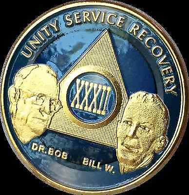 AA Founders 32 Year Chip Gold Plated Blue Alcoholics Anonymous Medallion Coin