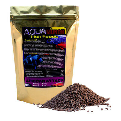 AQUAmunch African Attack Cichlid Aquarium Fish Aqua Food 3mm Pellets 1Kg Pond