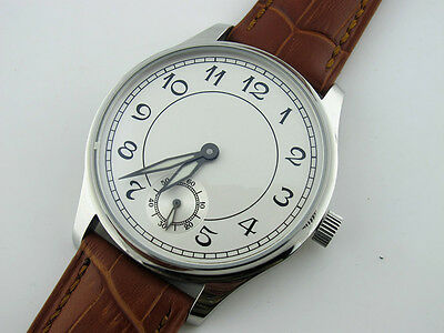 44mm Parnis 6498 Hand Winding Men's Casual Watch White Dial Stainless Steel Case